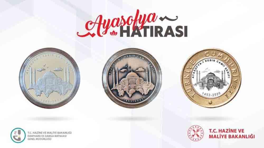 Moedas comemorativas são lançadas para a reabertura da Grande Mesquita de Santa Sofia