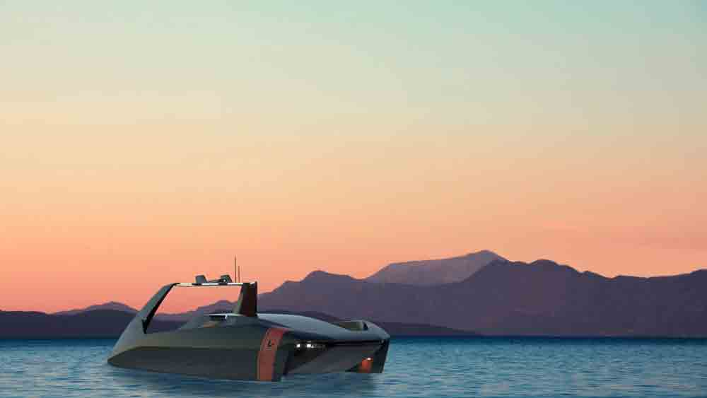 Platypus Craft mostra o 'Futuristic Swordfish 40' um barco que pode submergir. Foto: Divulgação