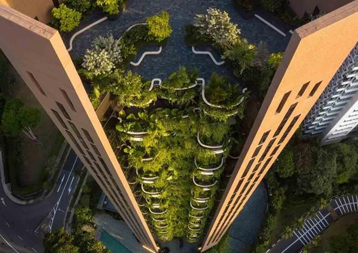 Novo arranha-céu em Singapura explora paisagismo nas varandas. Foto: Divulgação