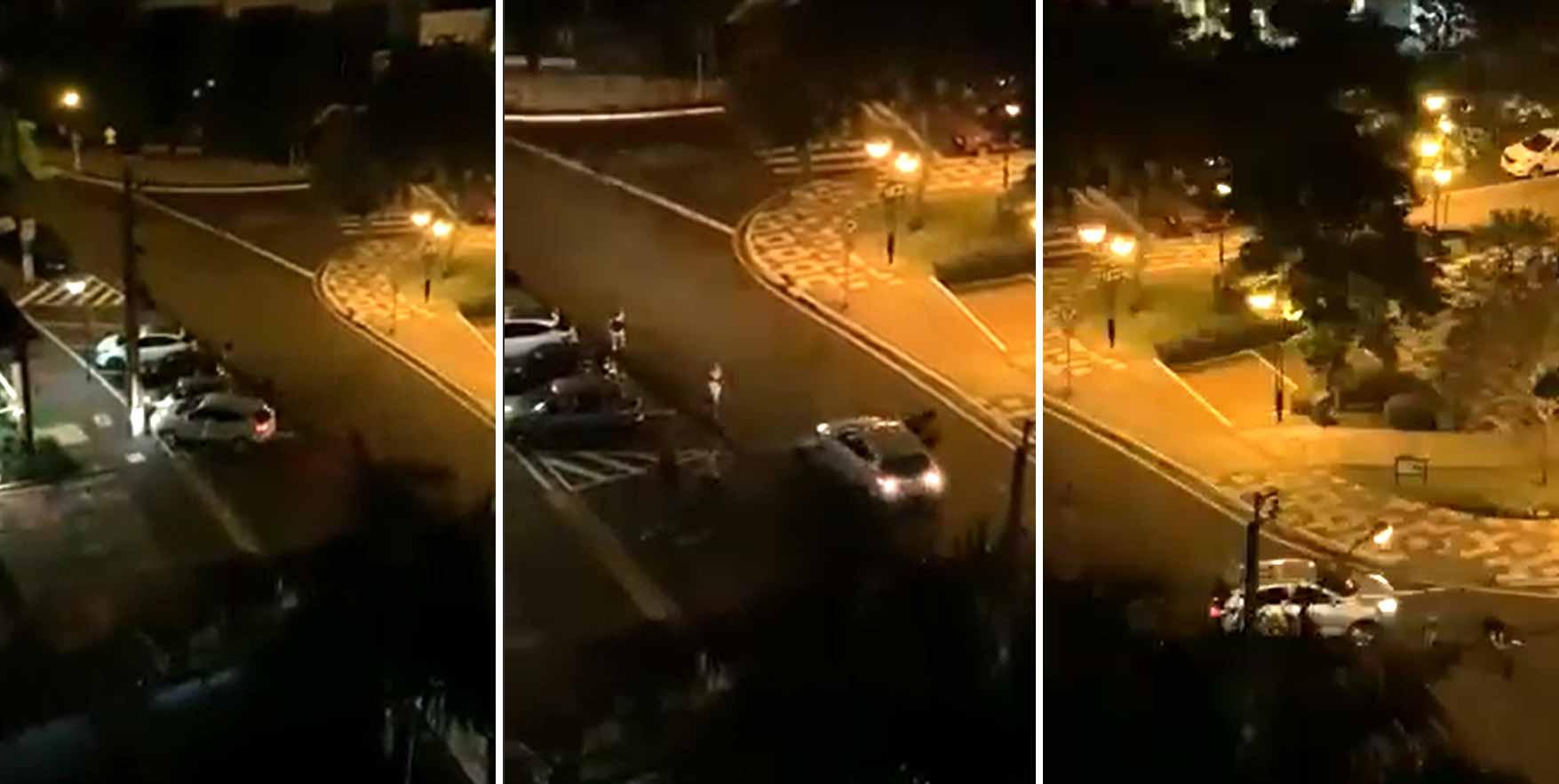 Jovem é atropelado 2 vezes ao tentar separar briga de casal em Londrina; veja o vídeo. Foto: Reprodução Whatsapp