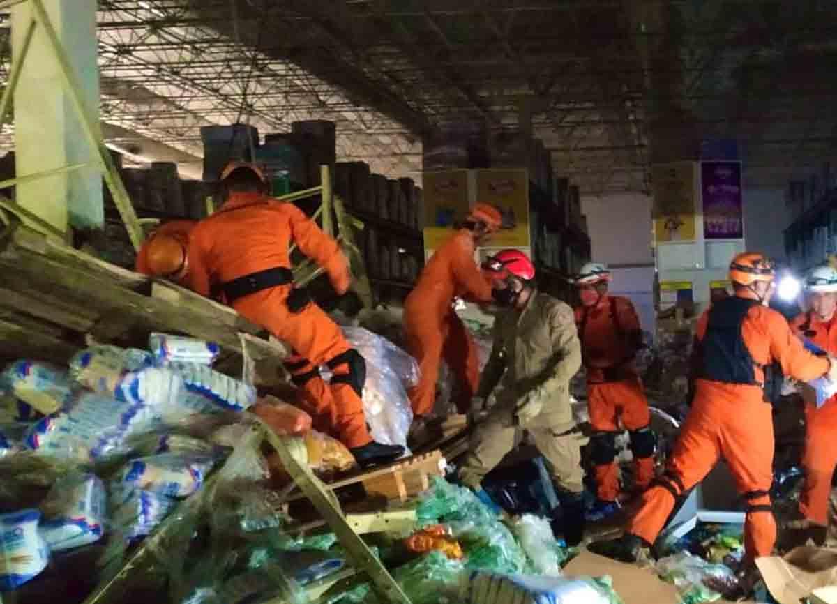 Acidente em supermercado deixa um morto e oito feridos em São Luís. Foto: reprodução Twitter