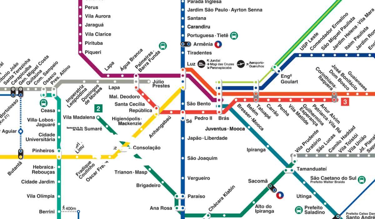 CPTM atualiza mapa das linhas da CPTM e Metrô. Foto: Reprodução CPTM