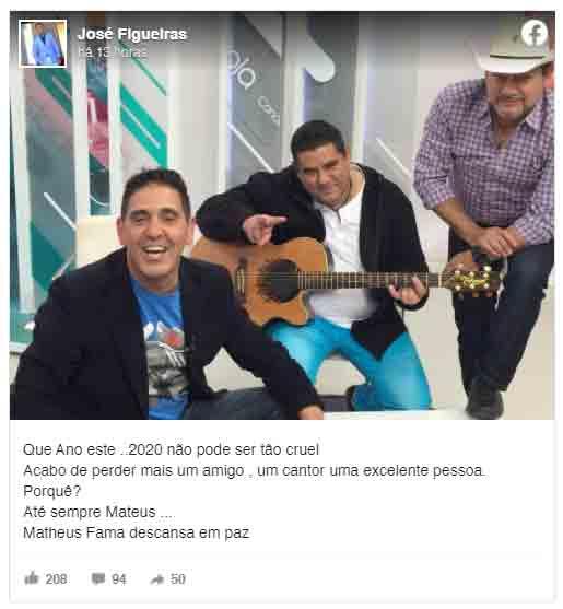 Cantor sertanejo Matheus morre de Covid-19. Foto: Reprodução Facebook