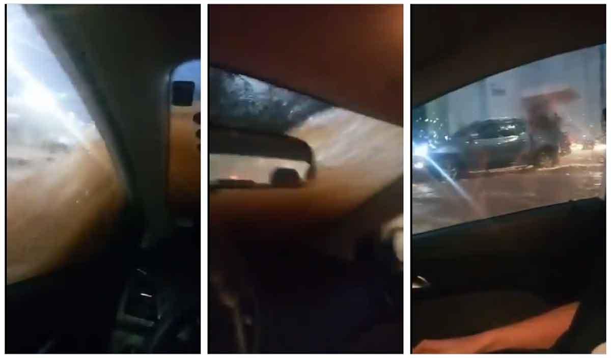 Vídeo desesperador de homem preso em carro durante enxurrada viraliza pela calma do motorista; veja. Foto: Reprodução Twitter