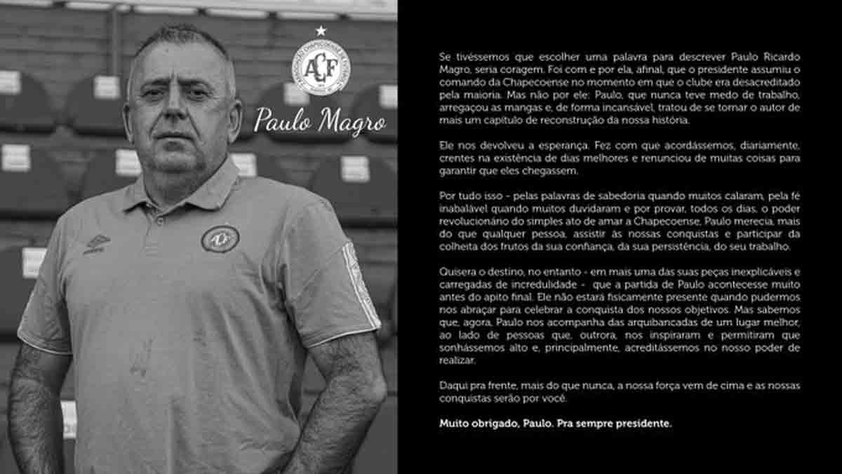 Presidente da Chapecoense, morre vítima da covid-19. Foto: Reprodução Twitter