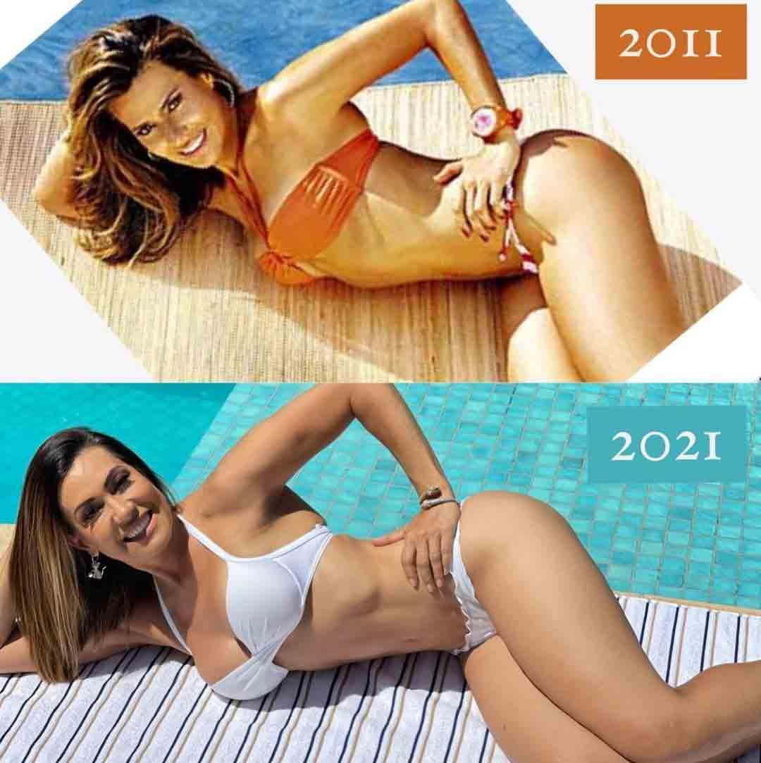 Solange Frazão deixa fãs de boca aberta ao reeditar foto de 10 anos atrás na mesma pose. Foto: Reprodução Instagram