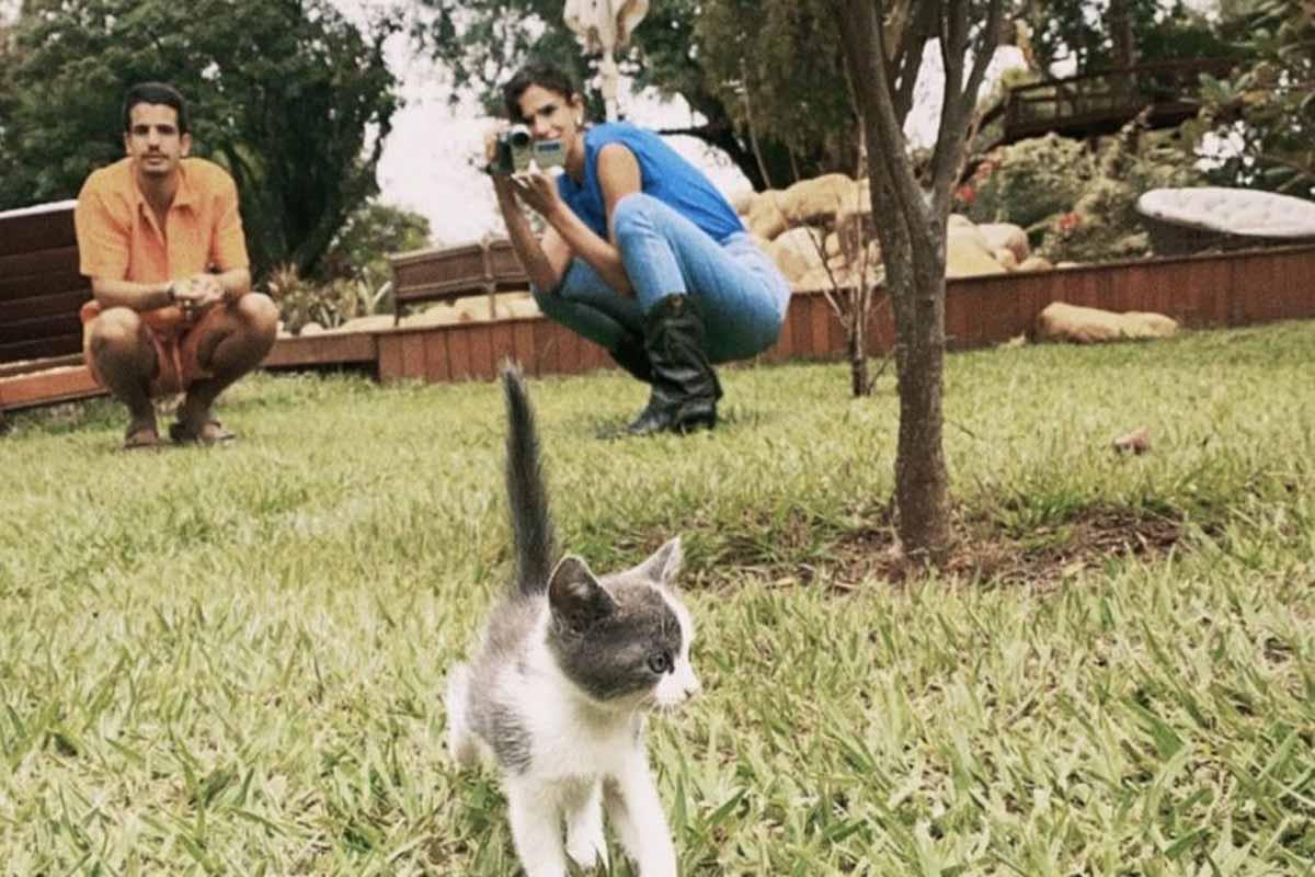 Enzo Celulari e Bruna Marquezine posam com gatinho em novo clique fofo (Foto: Reprodução/Instagram)