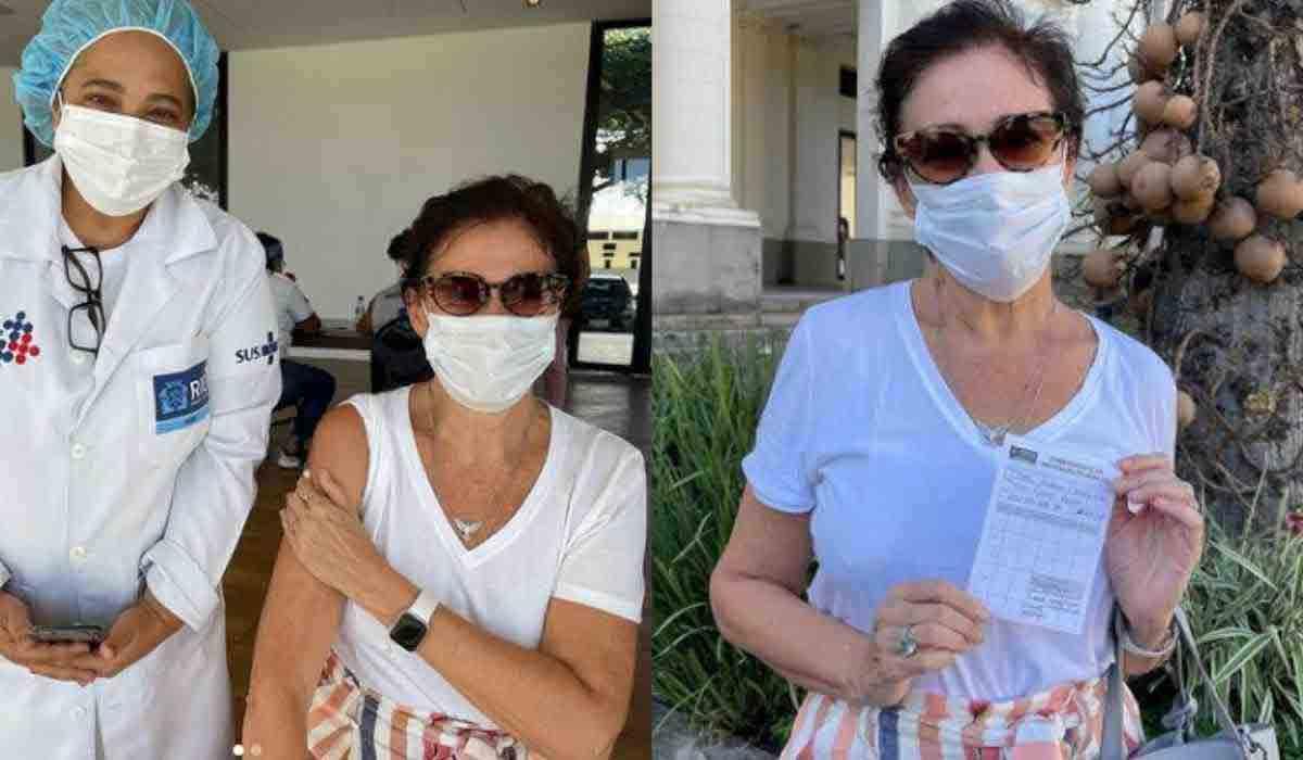 Lilia Cabral é vacinada contra covid-19: 'Viva o SUS! Viva a Ciência!' (Foto: Reprodução/Instagram)
