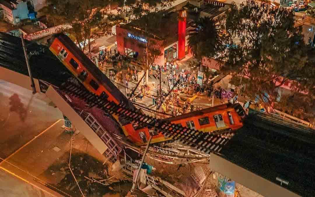 Sobe para 20 o número de mortos após metrô desabar sobre via na Cidade do México. Foto: Reprodução Instagram