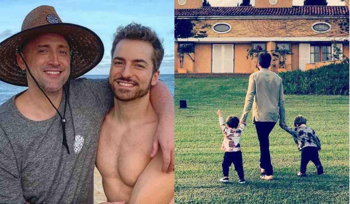 Viúvo de Paulo Gustavo posa com os filhos . Foto: Reprodução Instagram